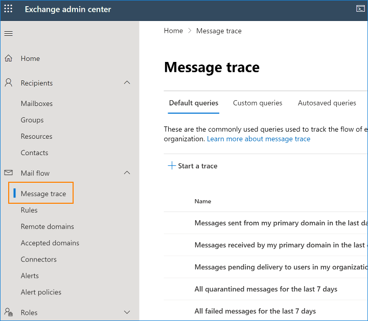 Message trace in M365
