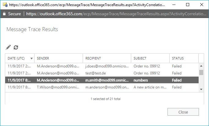 Message tracking in Office 365 - how to trace messages