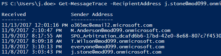 Message tracking in Office 365 PowerShell