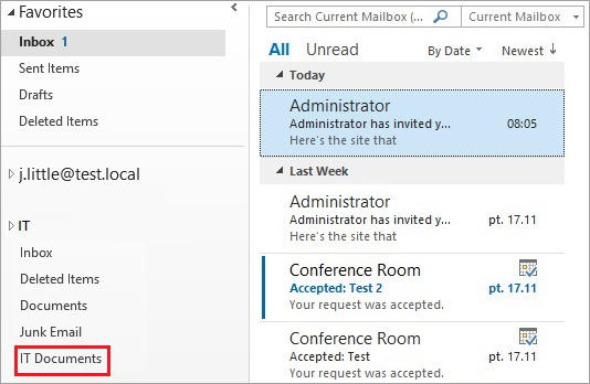 SharePoint and Exchange integration - site mailbox in Outlook