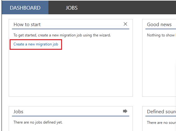 Create a new migration job