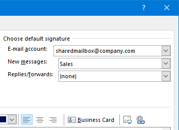 Choose shared mailbox signature in Outlook