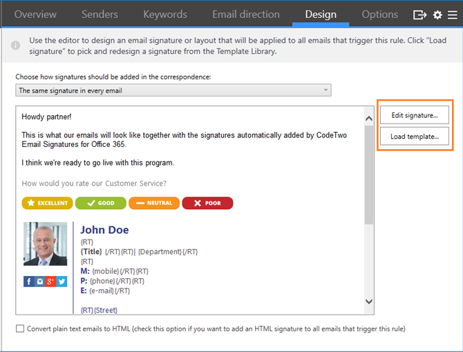 Design Office 365 company email signature