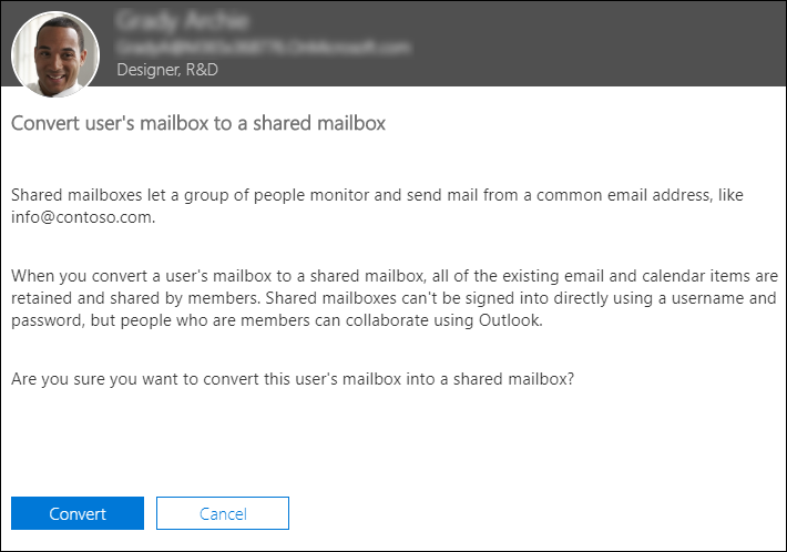 Confirm convertion to shared mailbox