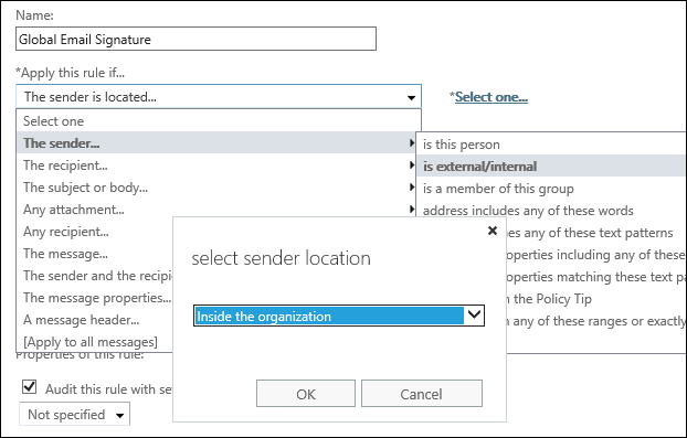 set up organization-wide email signatures in Exchange 2019 3