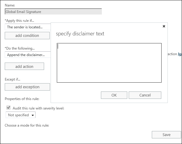 Add email signatures in Exchange 2019 2