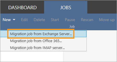 New migration job to Exchange 2019