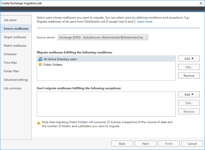 Select mailboxes for migration to Exchange 2019