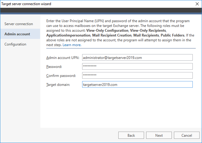 Connect to the target server Exchange 2019