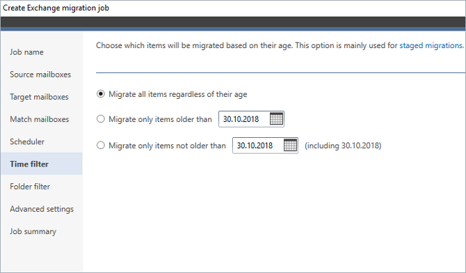 Filter items before migrating them to Exchange 2019.
