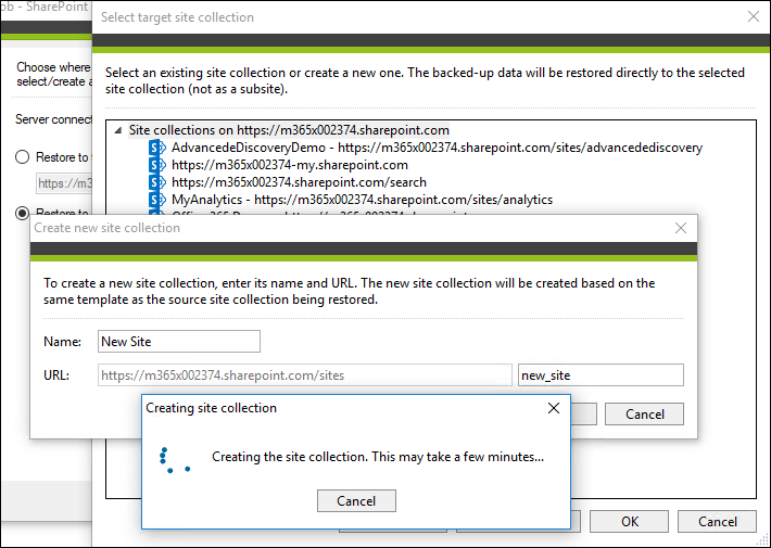 Migrate SharePoint Online - create new site collection