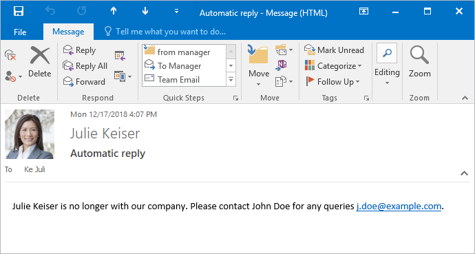 How to manage auto replies for retired or dismissed employees?
