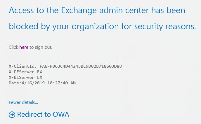 A notification about blocked access to EAC.