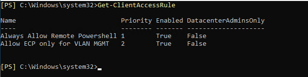 Check a list of Client Access Rules