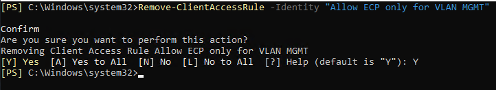 Remove client access rule