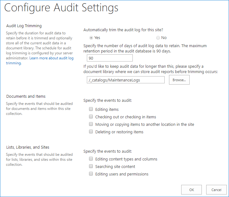Configure audit settings - SharePoint audit logs