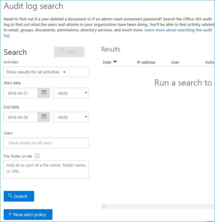 Unified Audit log search