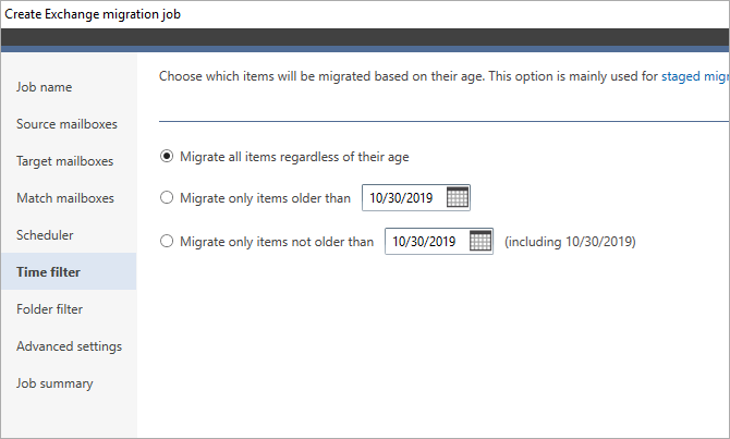 Filter items before 2010-2016 Exchange migration