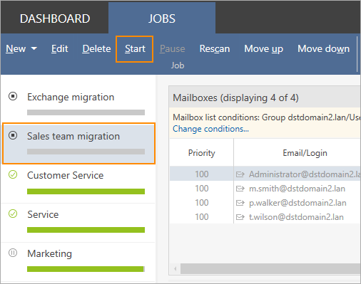 Start one-hop migration to Exchange 2016