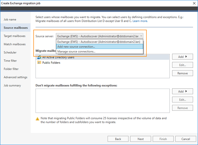 Connect to source Exchange server