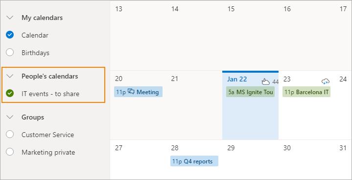 View a shared calendar