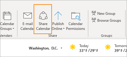 Shared calendar icon in Outlook