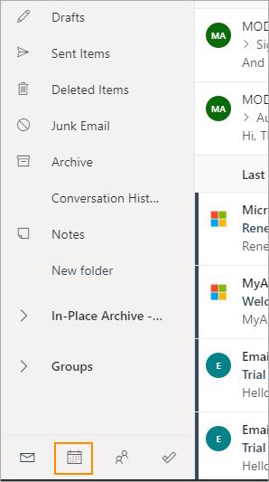 Calendar icon in Outlook