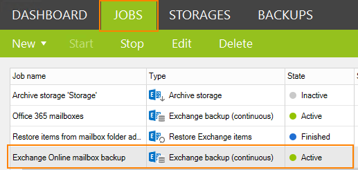 Backup job on the list in the CodeTwo Backup tool.