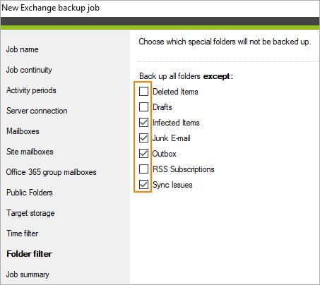 Folder filter in backup
