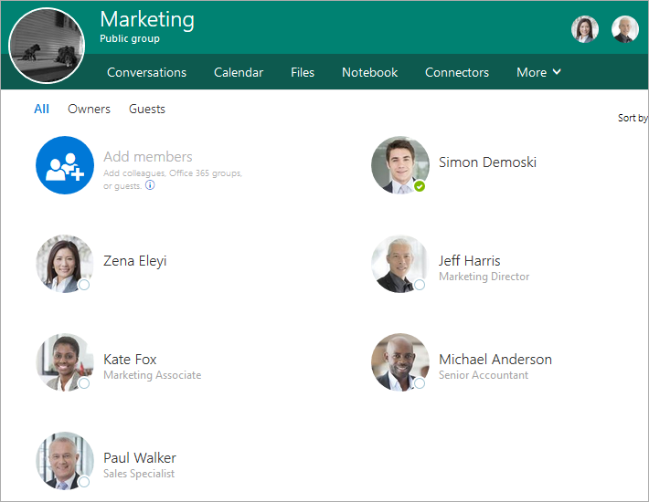 Office 365 user photos displayed in Office 365 Groups.