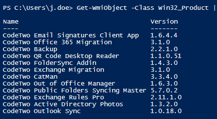 How to check installed software version - Get-WmiObject filtered