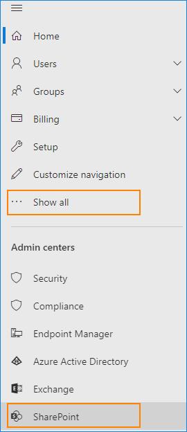 Microsoft 365 admin center - open SharePoint admin center