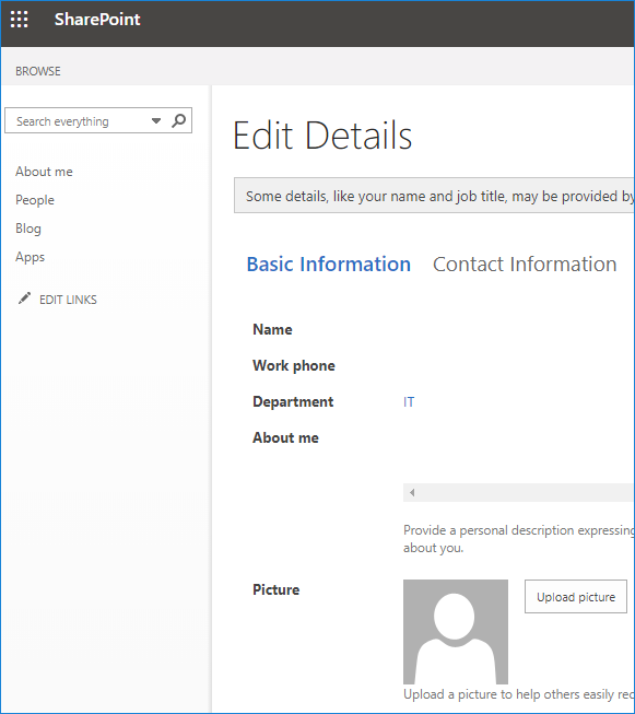 Changing photo in SharePoint Online