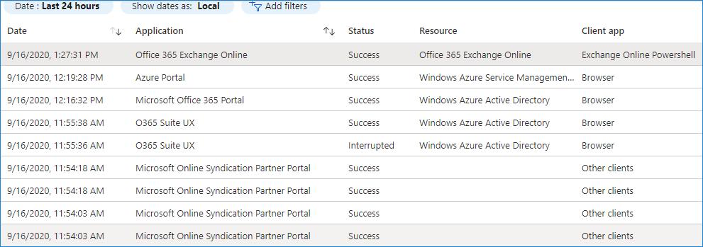 Azure Active Directory Signins