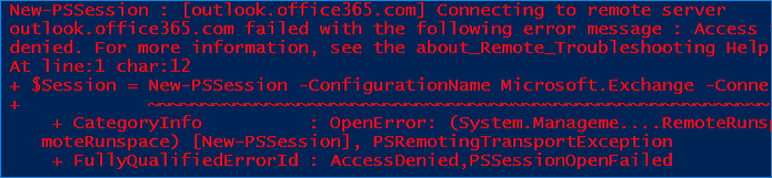 Disable basic authentication Office 365 - remote PowerShell error