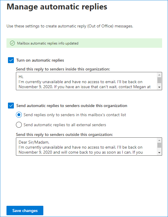 Manage automatic replies in Microsoft 365 admin center