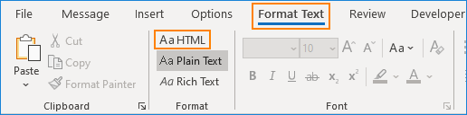 Outlook format text HTML