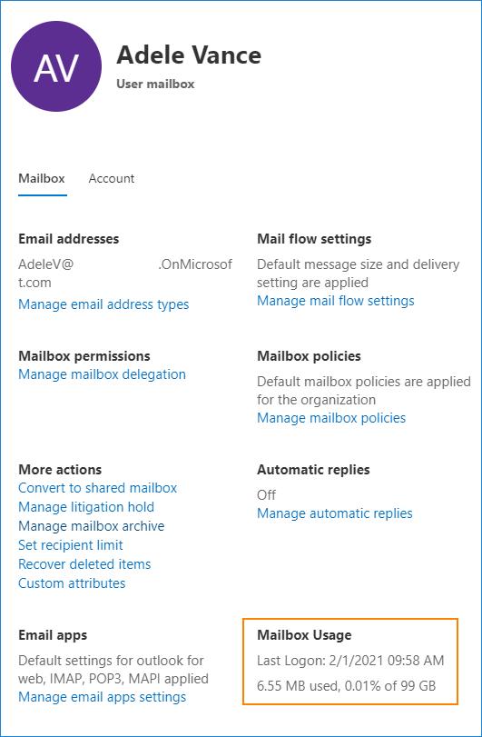 Mailbox usage Microsoft 365