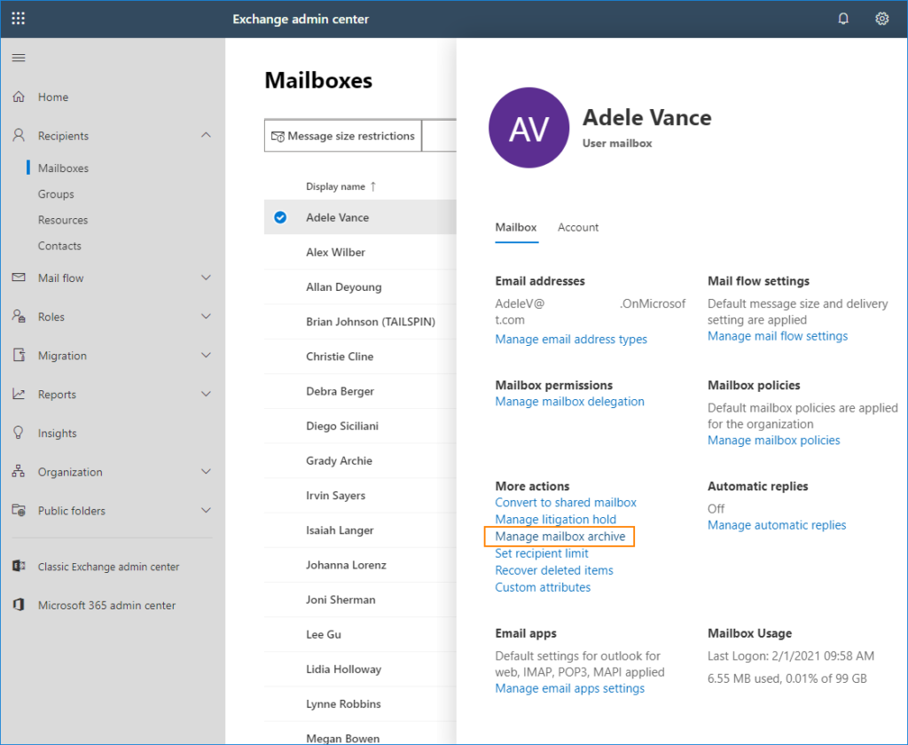 Manage mailbox archive