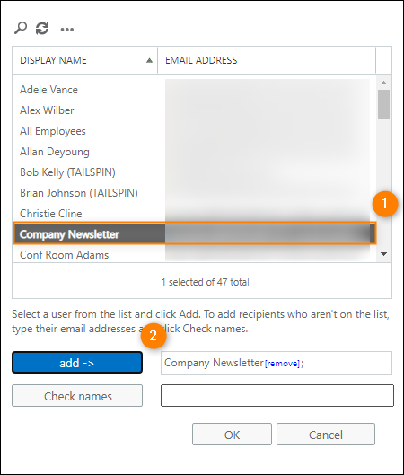 Transport rule condition configuration – mailbox selection