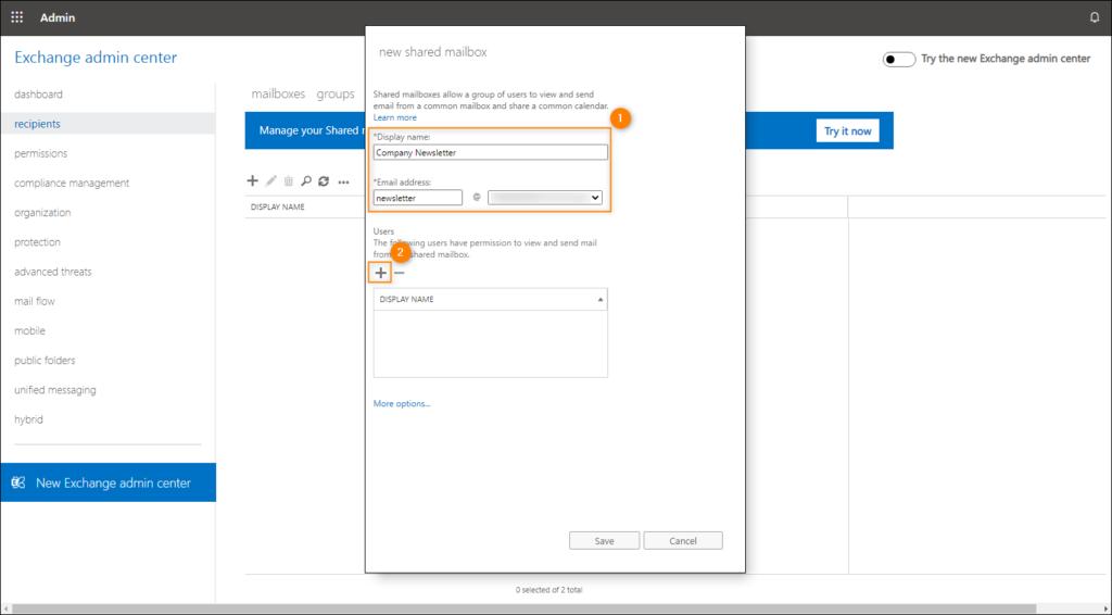 Creating a shared mailbox – naming and selecting users