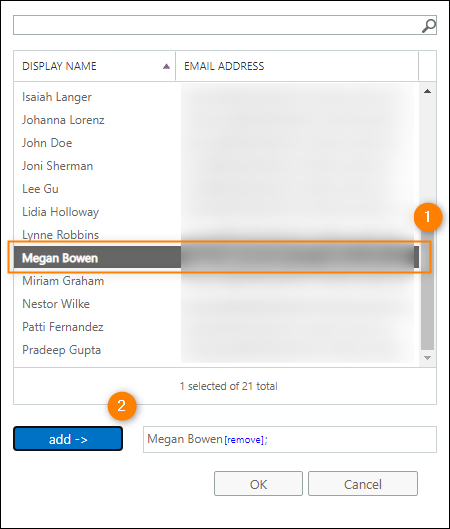 Selecting the shared mailbox user