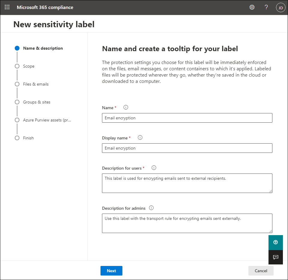 Creating a sensitivity label - name and description