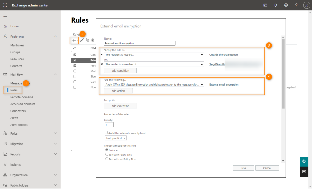 Creating a transport rule for emails sent externally