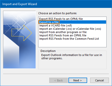 Export contacts to a file