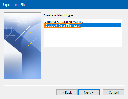 Export Outlook contacts to PST