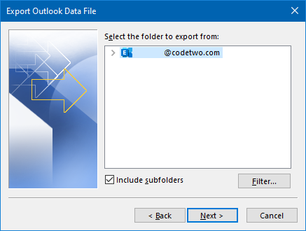 Export Outlook contacts to PST - choose folder
