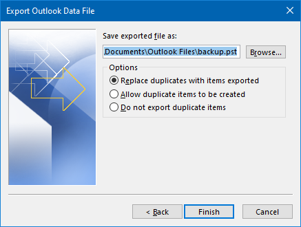 Export Outlook contacts to PST - finish