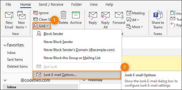 Accessing the Junk Email options