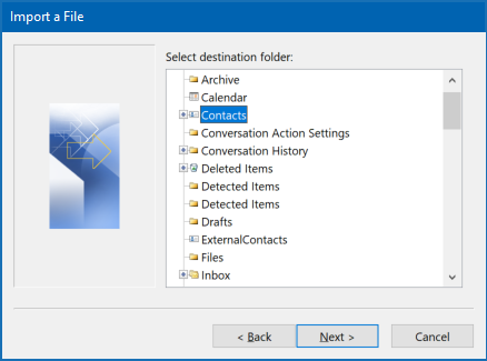 Import Outlook contacts to Outlook - choose target folder